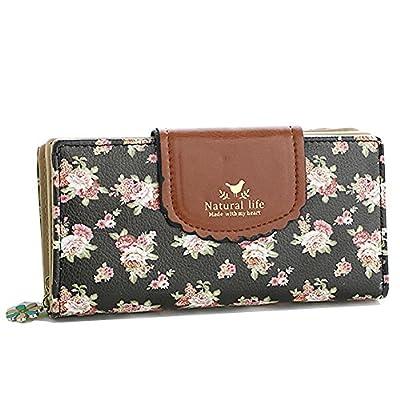 ETIAL Women's Vintage Floral Zip Wallet Faux Leather Card Holder