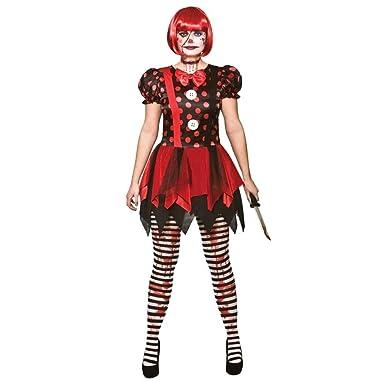 Adult Female Horror Clown Halloween Fancy Dress Costume
