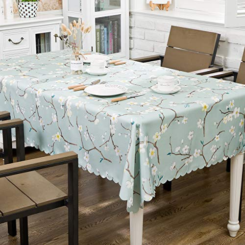 Hewaba Rectangle Printed Tablecloth – 60″ x 84″ Polyester Washable Table Cover, Seats 6-8 People, Wrinkle Free, Oil-Proof/Waterproof Tabletop Protector for Kitchen Dining Party – Plum Blossom …