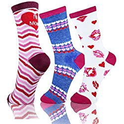 Mother's Day Gift -Luvsox Women's Fashion Crew Socks 3 Packs Assorted (Type A)