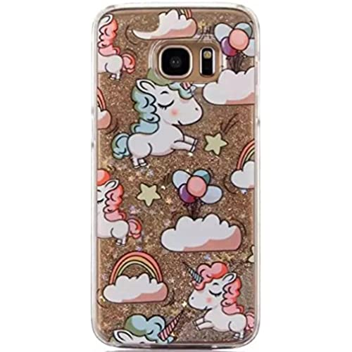 Galaxy S7 Luck Curly Hair Unicorn Sand Shell, OMORRO New Attractive Curly Horse Shiny Flowing Floating QuickSand Sales