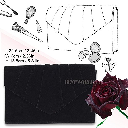 Bag Clutch Handbag Evening Clutch Bridal Wocharm velvet Prom Bag Black Ladies Womens party Suede Folds Shoulder 0X0Cw6fxq