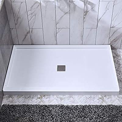 Stainless Steel Shower Floor Pan.Woodbridge Solid Surface Shower Base 48 X 36 Recessed Trench Side Including Stainless Steel Linear Cover Center Drain Sbr4832 1000 C White
