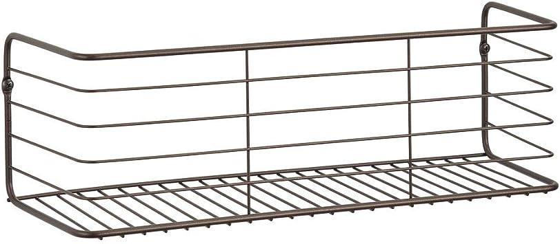 mDesign Juego de 2 estantes de metal para ba/ño Estante de pared ancho en alambre de metal cocina Cestas de rejilla compactas plateado pasillo o lavadero