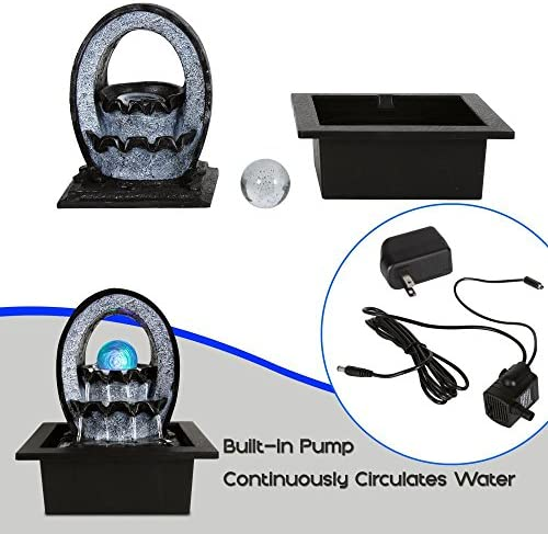SereneLife Desktop Electric Water Fountain Decor w LED Illuminated Crystal Ball Accent – Indoor Outdoor Portable Tabletop Decorative Waterfall Kit Includes Submersible Pump 12V Adapter – SLTWF74LED