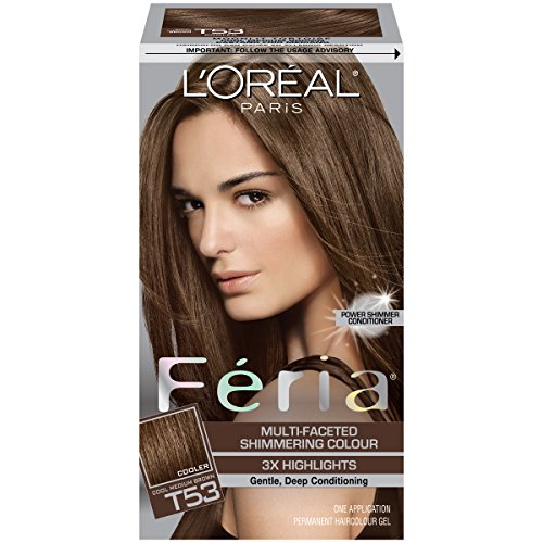 L'Oréal Paris Feria Multi-Faceted Shimmering Permanent Hair Color, T53 Moonlit Tortoise (Cool Medium Brown), 1 kit Hair ()