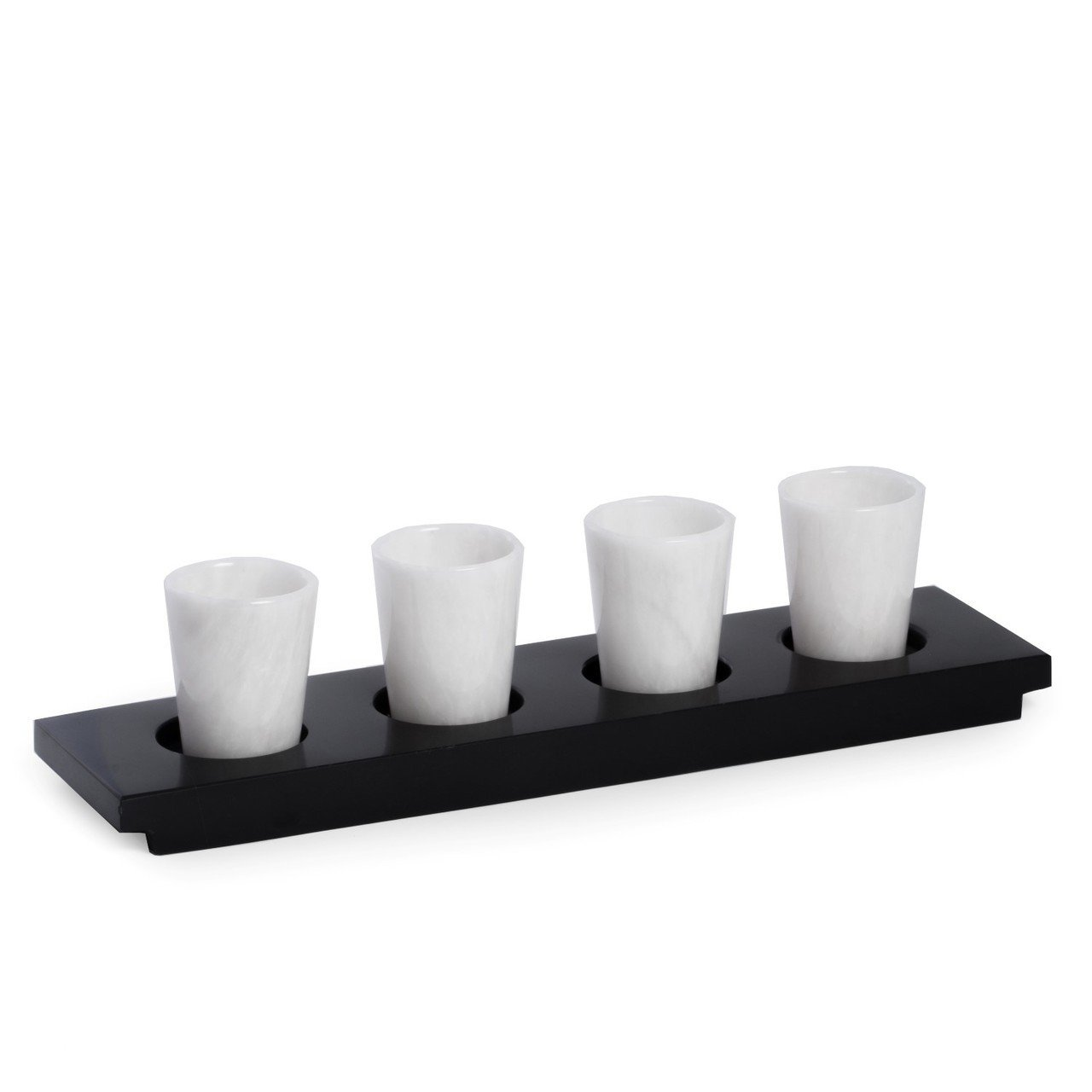 Hand Crafted 4 White Solid Marble Shot Glasses on Black Marble Serving Tray Set