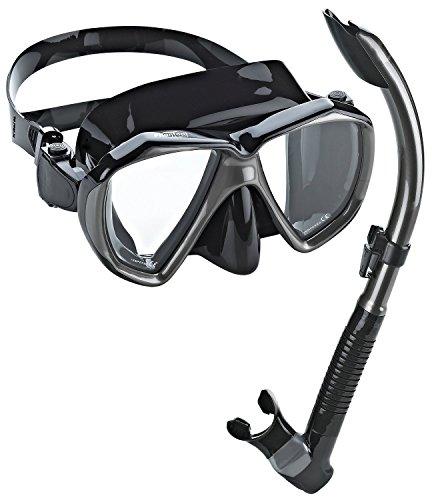 Phantom Aquatics Velocity Scuba Snorkeling Mask Snorkel Set, Black Titanium