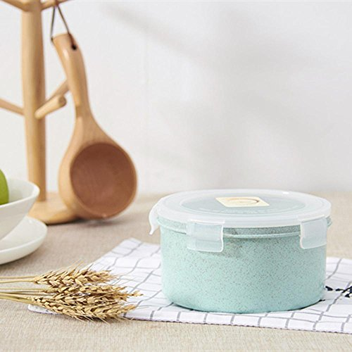 Sealed Crisper (Kaxima Wheat straw lunch box, round, crisper, sealed box, food storage box, 16x16x8.2cm)
