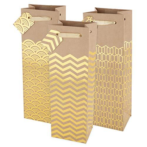 Assortment Bottle Bag - Cakewalk Marketplace Kraft Single Bottle Paper Wine Bag Assortment, Brown/Gold