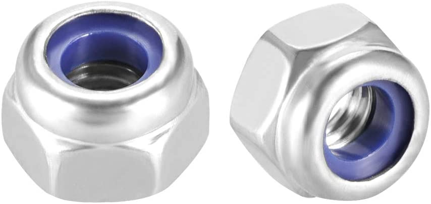 304 Stainless Steel Pack of 30 Plain Finish uxcell M4 x 0.7mm Nylon Insert Hex Lock Nuts