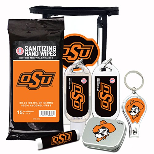 Oklahoma State Cowboys 6-Piece Fan Kit with Decorative Mint Tin, Nail Clippers, Hand Sanitizer, SPF 15 Lip Balm, SPF 30 Sunscreen, Sanitizer Wipes. NCAA Gifts for Men and Women ()