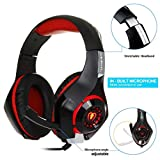 AutumnFall 3.5mm LED Lights Best Gaming Headset Gamer Gaming Headphone for Computer PC PS4 with Microphone (Red)