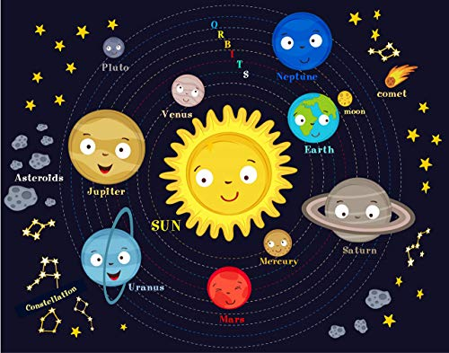 Planets for Kids - Solar System Wall Art - 11x14 - Unframed (Map Solar System)