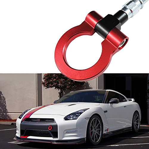 JDM SCREW-ON Red Sport Racing Aluminum Front Rear BUMPER Tow Hook For Nissan 370Z GTR Juke Infiniti G37 QX70 (Accessories Tow Hooks)