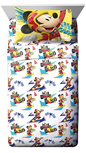 Jay Franco Disney Junior Mickey Mouse and The Roadster Racers Twin Sheet Set - 3 Piece Set Super Soft Kid's Bedding - Fade Resistant Polyester Microfiber Sheets (Official Disney Junior Product)