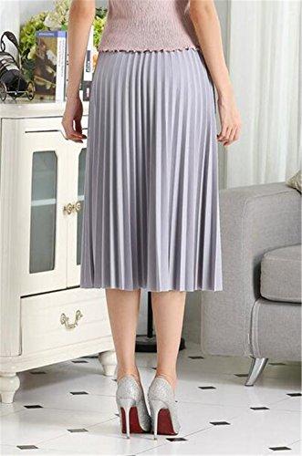 Jupe BESTHOO Unie En Pliss Dcontracte Couleur Taille Femme Grey Haute Longue Mi Jupe Jupe Jupe Jupe Mousseline Jupe wrrAq6zI