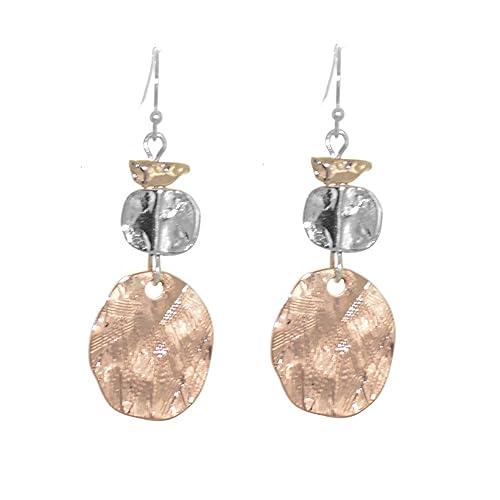 cef0f924f2da Rue B Joyería de moda contemporánea  pendientes de oro rosa y plata con  texturas martilladas