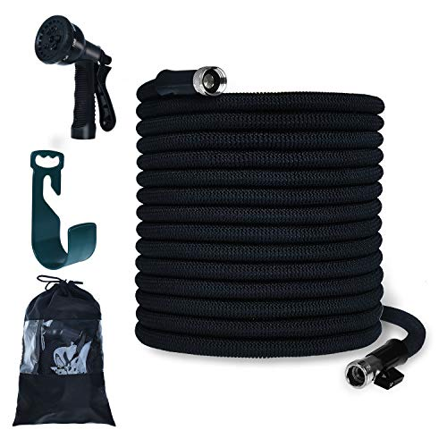 PanShield Expandable Garden Hose Set with Bag& Nozzle& Hanger Lightweight and Kink Free Flexible Water Hose with 8 Function Spray Nozzle (100, Black)