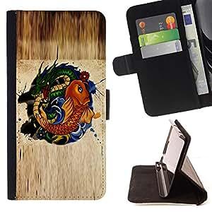 - NATURE FAIRYTALE GOLD SYMBOL GREEN DRAGON FISH - - Prima caja de la PU billetera de cuero con ranuras para tarjetas, efectivo desmontable correa para l Funny HouseFOR Samsung Galaxy S4 IV I9500
