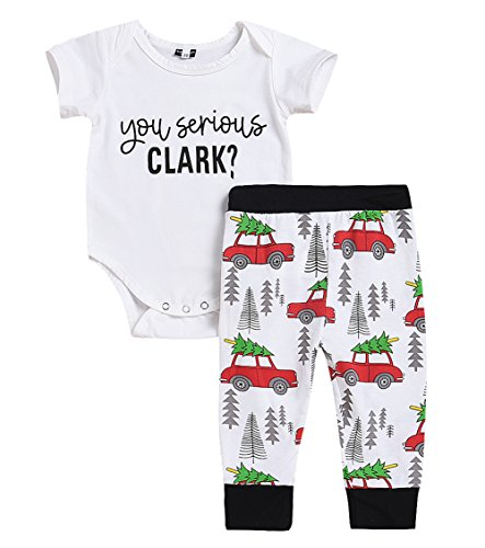 Newborn Infant Baby Car Spring Clothes Romper Tops +Long Pants Outfit 3Pcs Set (18-24 Months, Short-White) by Younger star