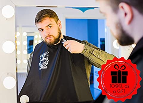 Bear's Beard Beard Apron Bib + Towel Gift - The Improved Beard and Moustache Catcher - Beard Catcher Apron for Trimming Your Beard - to Keep Yourself and your Sink Clean - Perfect Gift for Men – (Beard Trimmer Japan)