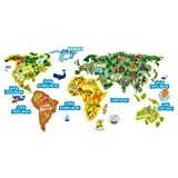 lepni.me World Map Kids Décor for Nursery, Classroom, Playroom, Childrens Room Vinyl Sticker Continents Oceans and Animals Wall Art Decal (110 cm. / 55 cm.)