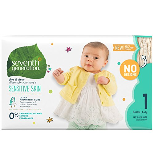 Seventh Generation Baby Diapers, Free and Clear for Sensitive Skin, Original No Designs, Size 1 160ct (Packaging May Vary)
