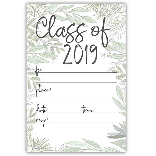 (Watercolor Greenery 2019 Graduation Party Invitations (20 Count) with)