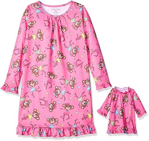 (Komar Kids Girls' Big Girls' Monkey Aop 'Me and My Dream Doll' Set, Fuchsia, M)
