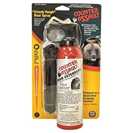 Counter Assault Bear Spray 85 Hottest formula allowed by EPA at 2% capsaicin Longest spray time and spray distance of 7.2 seconds; 30 ft. for 8.1 oz. And 9.2 seconds Glow-in-the-dark safety tie