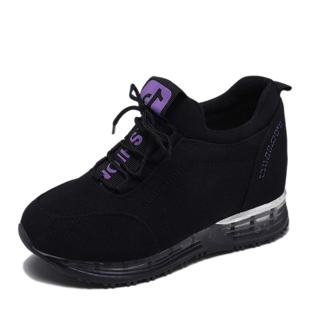 Purple T-JULY Women Platform Canvas Wedge Casual Sneakers Female High Heels Canvas Chunky Sneakers