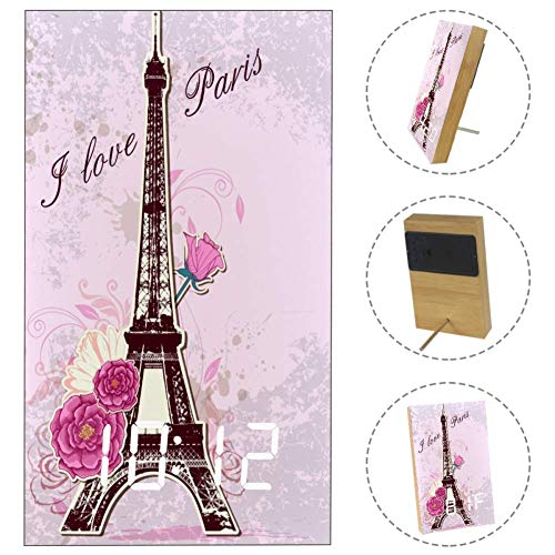 Alarm Clock Romantic Eiffel Tower Rose LED Digital Desk Table Day Decorative Clock Displays Time Date Temperature for Bedroom Home Office