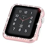 Coobes Compatible with Apple Watch Case 38mm, Compatible iWatch Metal Bumper Protective Cover Women Bling Shiny Crystal Rhinestone Diamond Compatible Apple Watch Series 3/2/1 (Diamond-Rose Gold, 38mm)