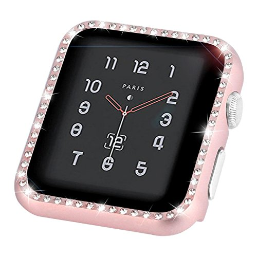 (Coobes Compatible with Apple Watch Case 38mm 42mm, Metal Bumper Protective Cover Women Bling Diamond Crystal Rhinestone Shiny Compatible iWatch Series 3/2/1 (Diamond-Rose Gold, 38mm))