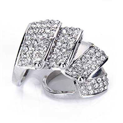 420b8c760 TOOGOO(R) Silvery Rhinestone Punk Full Finger Armor Ring---UK Size: O 1/2:  Amazon.co.uk: Jewellery
