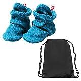 Zutano Booties Unisex Baby Fleece Slipper Socks and Toy Bag- Pagoda Blue- 18M