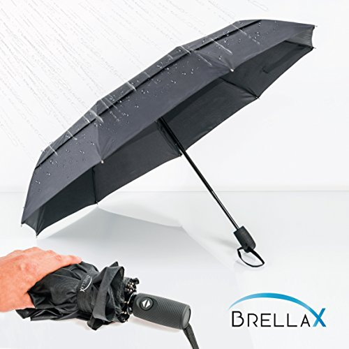 Compact Travel Umbrella by Brellax - Lightweight, Windproof, Reinforced Double Canopy, Auto Open / Close Folding, Ergonomic Handle, Carrying Case Included - (Smith College Costumes Design)