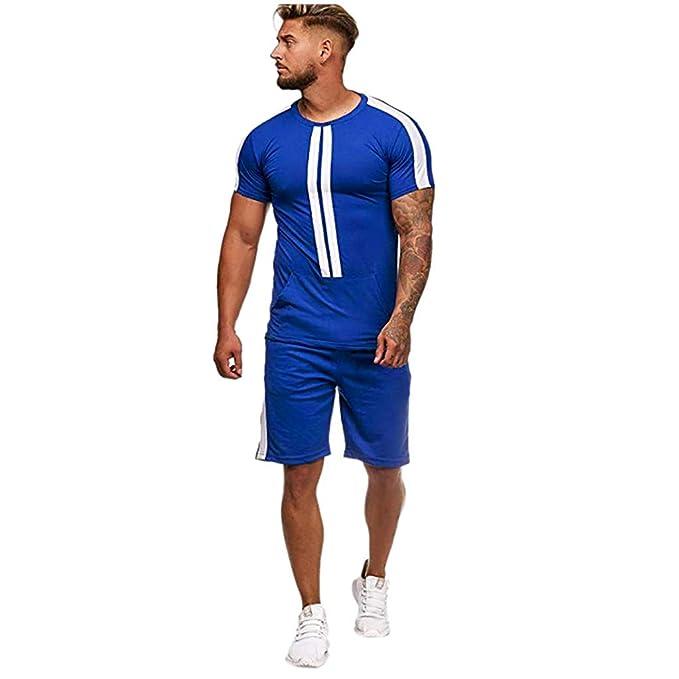 ¡Gran promoción!Rovinci Hombres Camisas Deportes Verano Ocio Rayado Sólido Impreso Color Colisión Manga Corta (Tops + Shorts): Amazon.es: Ropa y accesorios