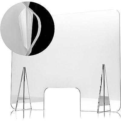 Mampara Protectora de Metacrilato 70x50cm, Grosor de 4mm, Transparente con Ventanillas y Bases para Mostrador y Mesa
