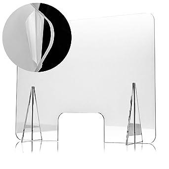 Mampara Protectora de Metacrilato 70x50cm, Grosor de 3mm, Transparente con Ventanillas y Bases para Mostrador y Mesa: Amazon.es: Industria, empresas y ciencia