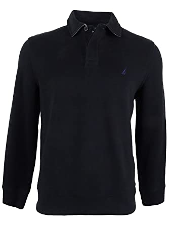 105abfbc Nautica Men's Classic-Fit French Ribbed Long Sleeve Polo, True Black, Large  at Amazon Men's Clothing store: