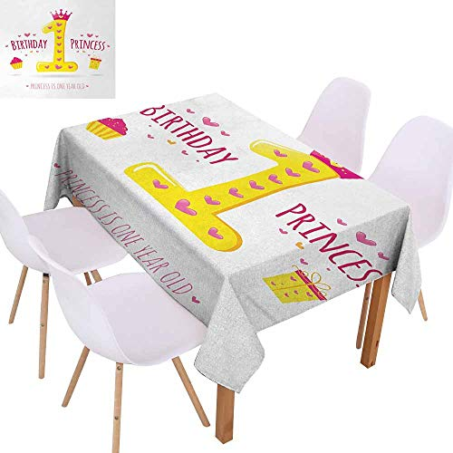 UHOO2018 1st Birthday,Indoor/Outdoor Tablecloth,Quote Design with Sweet Princess Girl Theme Party with Hearts Image,Waterproof and Spillproof,Yellow and Hot Pink,73