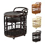 Serving Cart Handmade Woven Natural Rattan Wicker with Wheels Dark Brown Fully Assembled