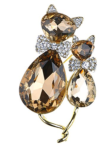 Alilang Adorable Cute Light Smoked Topaz Crystal Rhinestone Kitty Cat Animal Pin Brooch -
