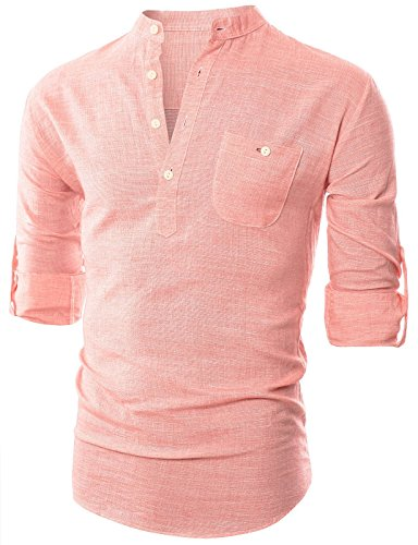 Ohoo Mens Slim Fit Ultra Light Cotton Linen Blend Long Sleeve Popover Work - Shirt Blend Work