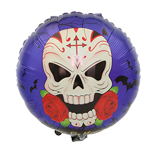 Kevin&Joy Halloween Pumpkin Balloons Aluminous Foil Balloons Large Helium Floatable Balloons Assorted Color for Halloween Party Decoration (Skull&Rose) -