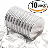 FINDMAG Strong Neodymium Disc Magnets with Double-Sided Adhesive, Powerful Permanent Rare Earth Magnets, Fridge, DIY, Building, Scientific, Craft, Office Magnets, 1.26''D x 1/8''H - Pack of 10