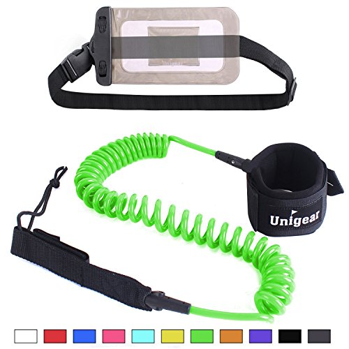 Unigear Premium 10 Coiled SUP Leash (11 Colors) Inflatable Paddle Board Leash with Waterproof Wallet (Green-New)