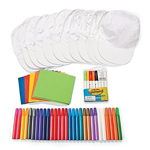 Fun Express DIY Color Your Own Hat Craft Kit (Makes 12) Includes Paint Pens, Markers and Stickers